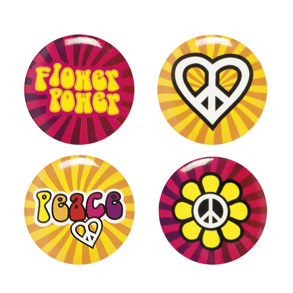 Buttons Hippie peace 4 stuks