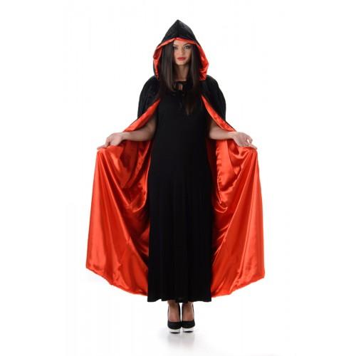 Cape met capuchon deluxe fluweel zwart en rood