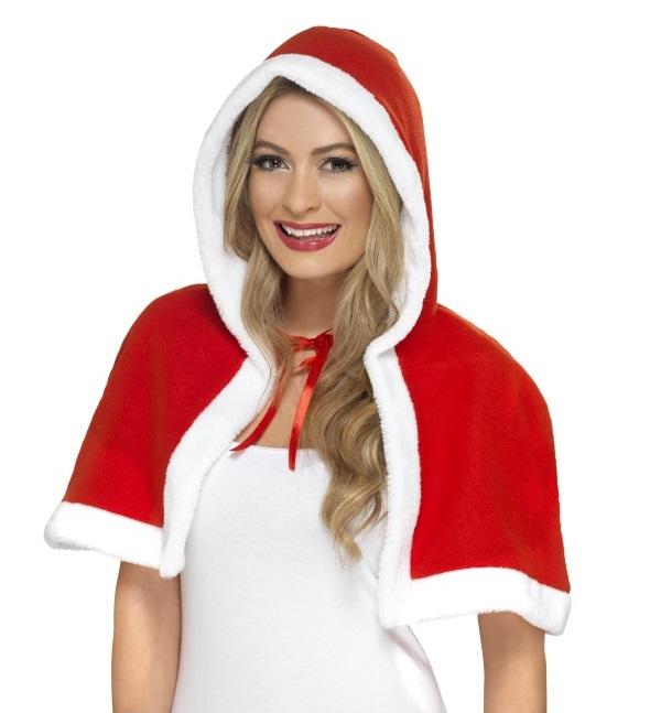 Cape met capuchon kerstvrouw