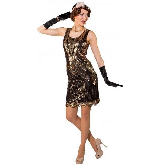 Charleston jurk pailletten goud/koper - S/M
