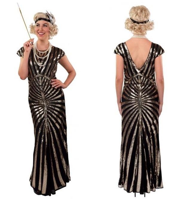 Charleston jurk pailletten lang zwart/goud L/XL