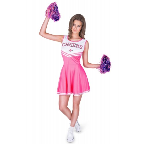 Cheerleader outfit roze met pompoms - Large