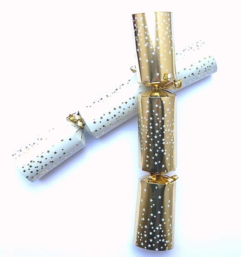 Christmas Cracker 50 stuks wit-creme/goud met contra sterren 12&#34,