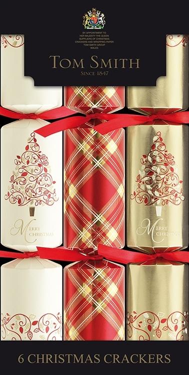 Christmas cracker kerstboom, lint en ruit 6 stuks 12&#34: