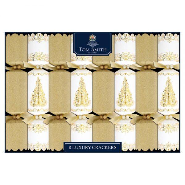 Christmas Crackers Gold en cream Luxe 8 stuks