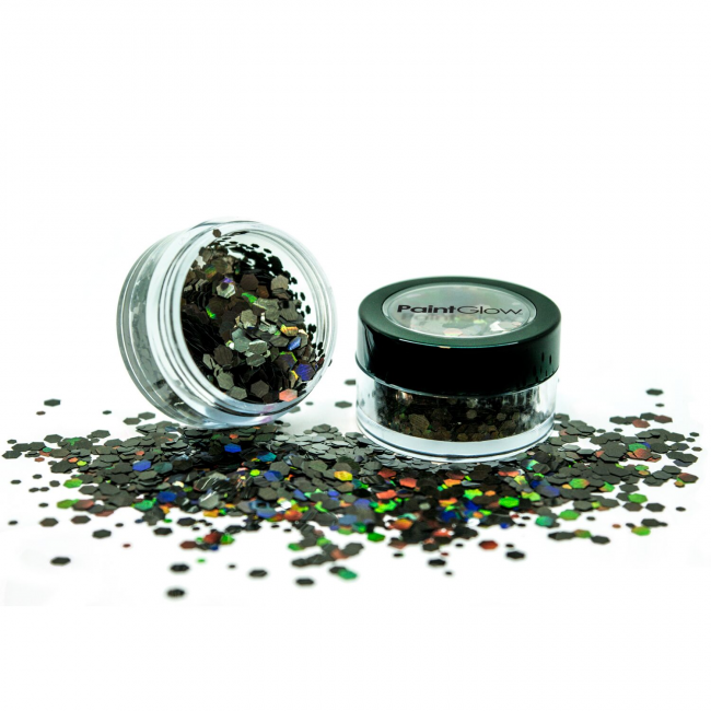 Chunky glitter Paint Glow holografisch Black star