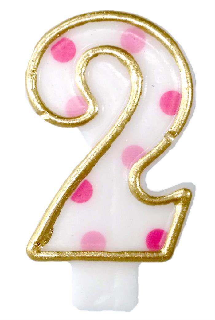 Cijferkaars 2 roze stippen