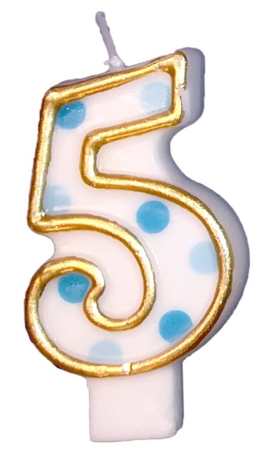 Cijferkaars 5 blauwe stippen