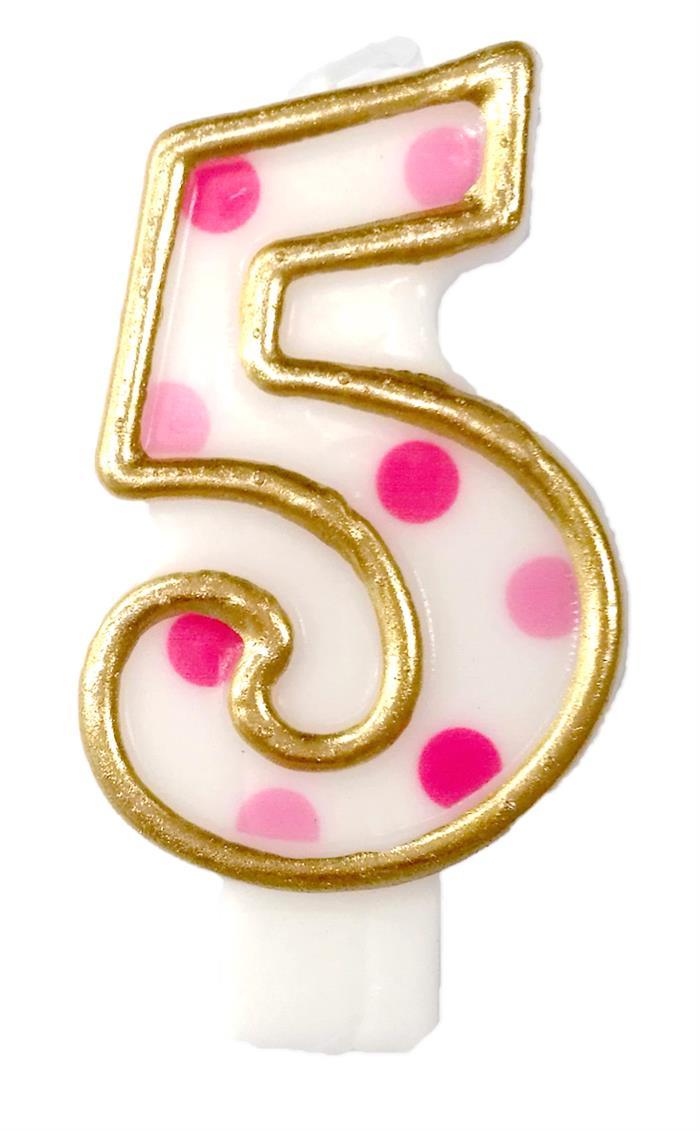 Cijferkaars 5 roze stippen