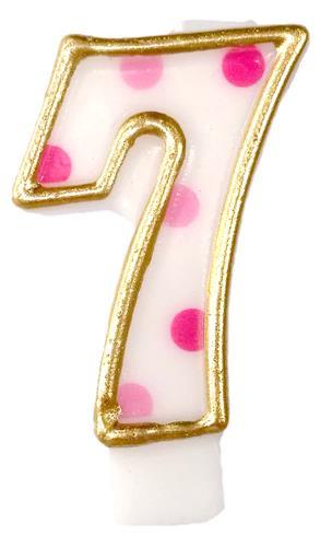Cijferkaars 7 roze stippen