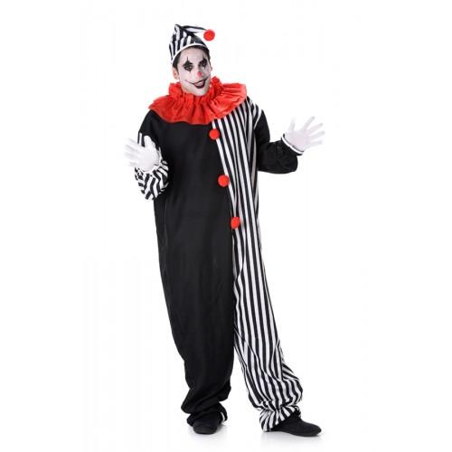 Clowns jumpsuit volwassenen zwart/wit