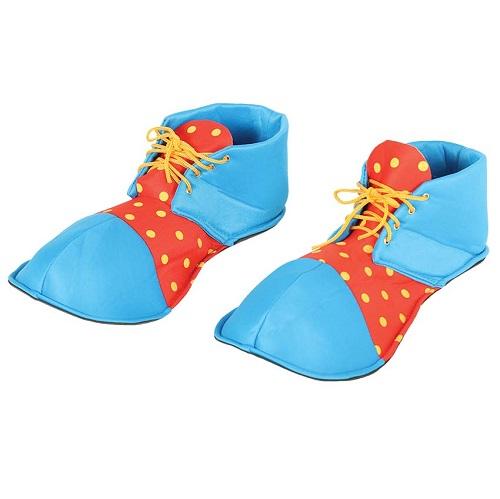 Clownsschoenen stof blauw/rood