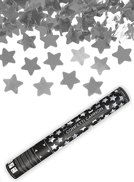 Confetti shooter sterren zilver