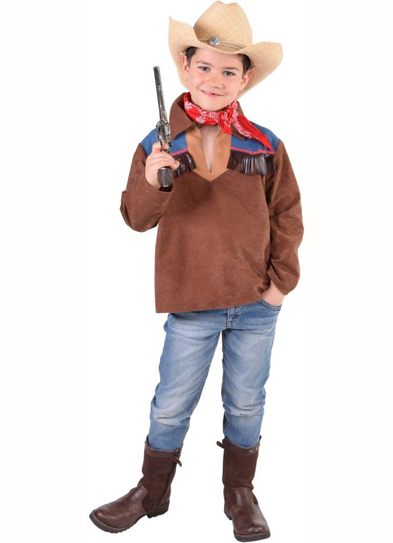 Cowboy blouse kind met jeansstof - 140