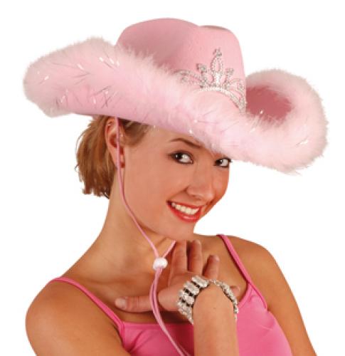 Cowboyhoed roze pluche