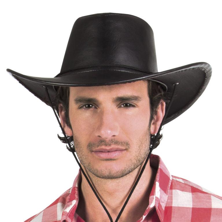 Cowboyhoed zwart leer Houston