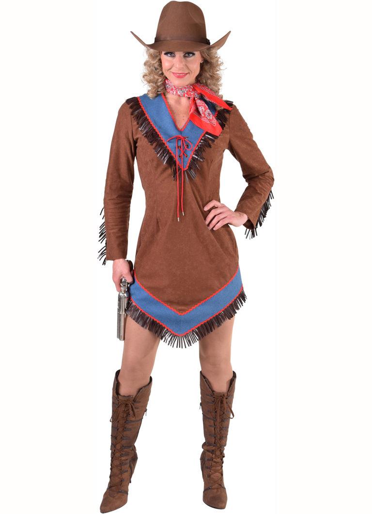 Cowgirl jurk met jeansstof - Extra Large