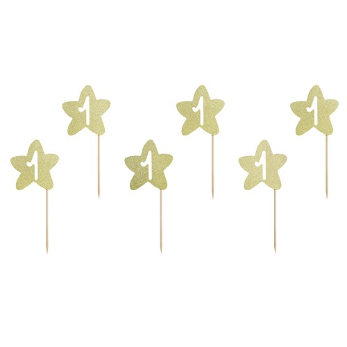 Cupcake toppers 1st birthday goud 6st