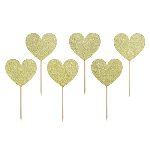 Cupcake toppers hartjes goud 6st