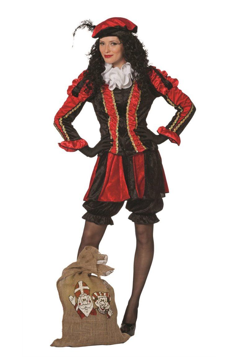 Dames Pietenpak met rokje rood/zwart - 40