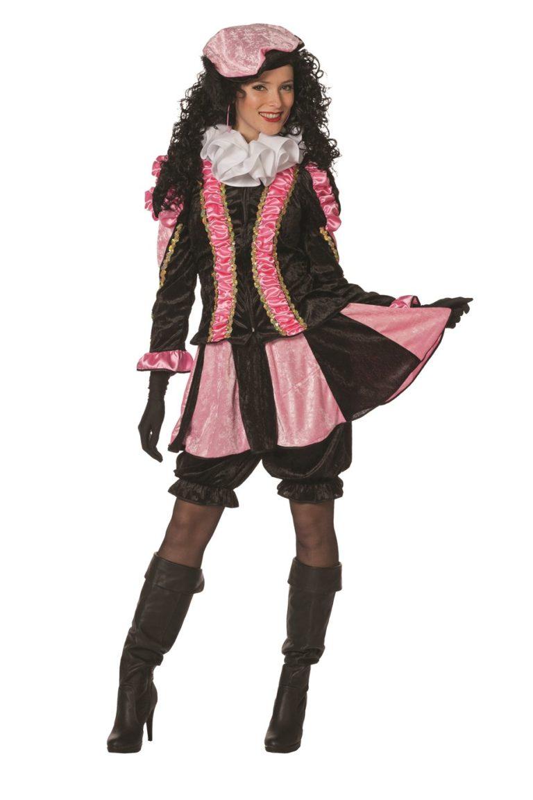 Dames Pietenpak met rokje roze/zwart - 44
