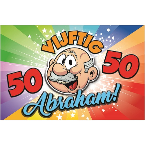 Deurbord huldeschild Abraham 50 rainbow