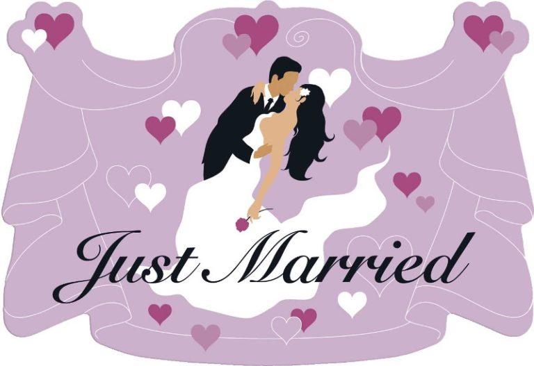 Deurbord huldeschild Just Married lila