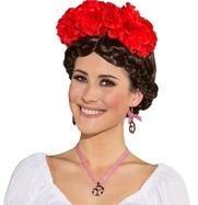 Diadeem bloemenkrans rood