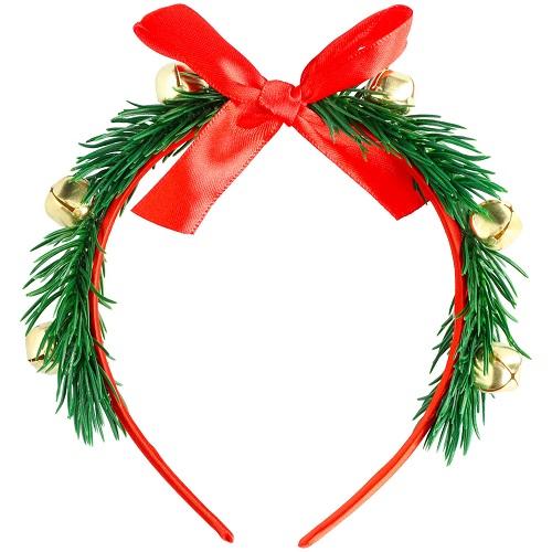 Diadeem kerstmis met takjes en belletjes