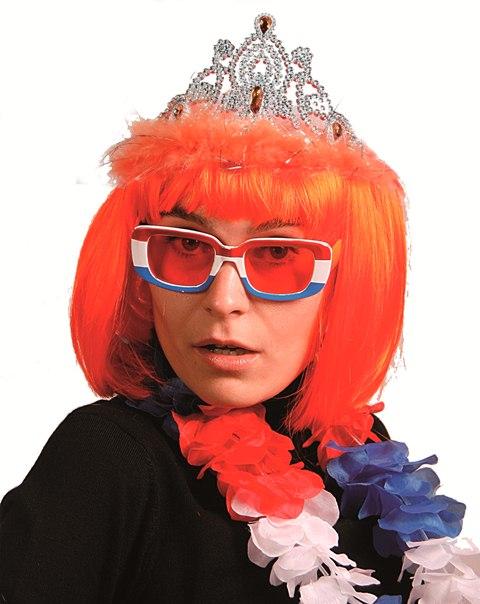 Diadeem tiara met kroon en oranje veren