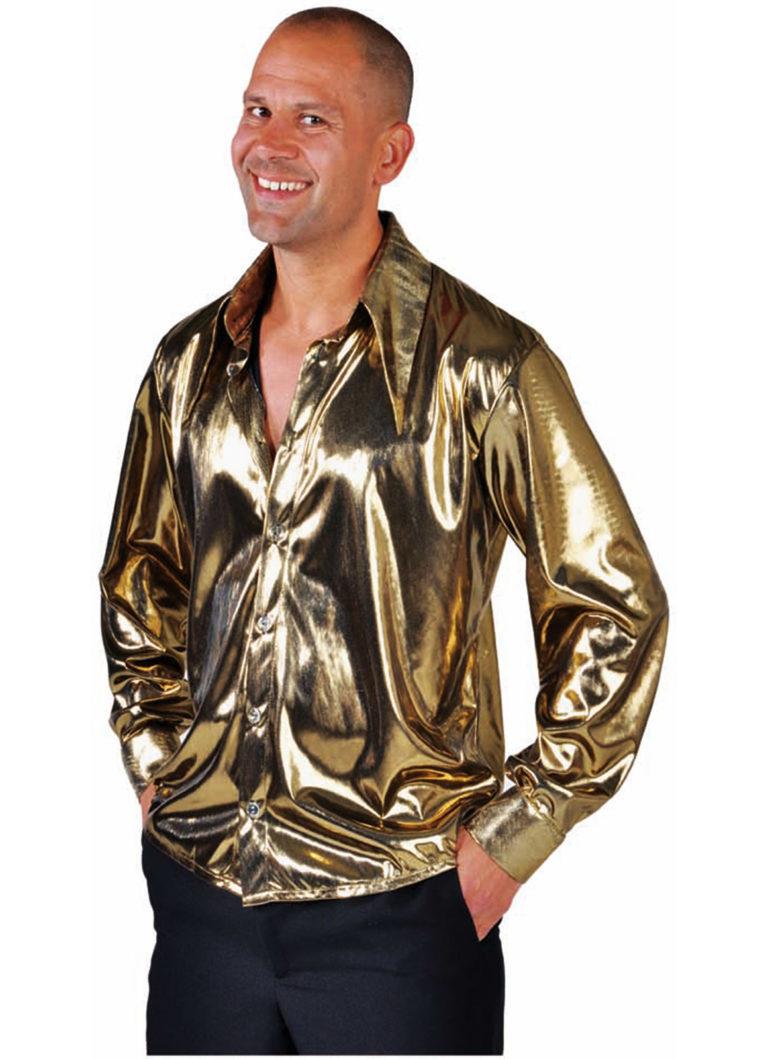 Disco blouse glimmend goud - 50/52 Medium