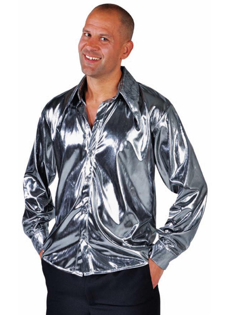 Disco blouse glimmend zilver - 46/48 Small