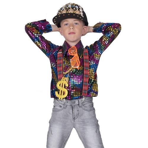 Disco blouse regenboog glitter - 164