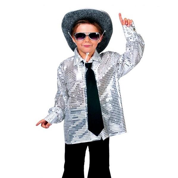 Disco blouse zilver kind - 164