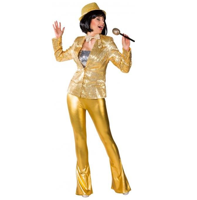 Disco broek dames goud glimmend - S/M