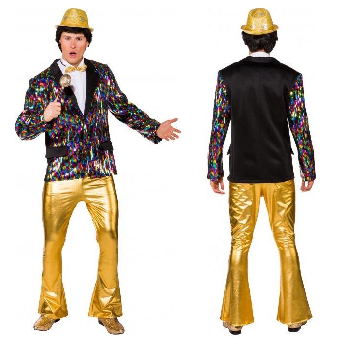 Disco broek heren glimmend goud