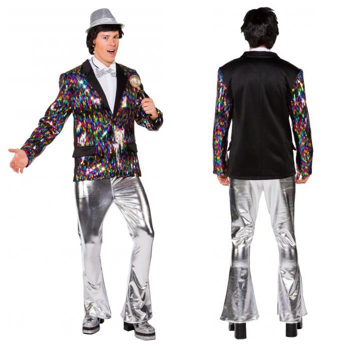 Disco broek heren zilver glimmend - L/XL