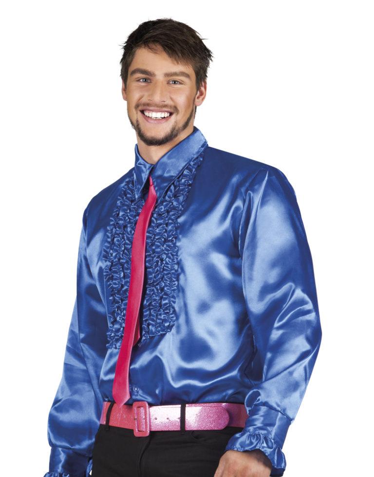 Disco ruche blouse blauw