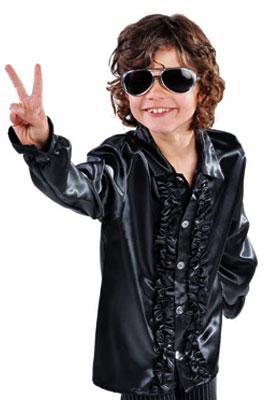 Disco ruche blouse kids zwart - 164