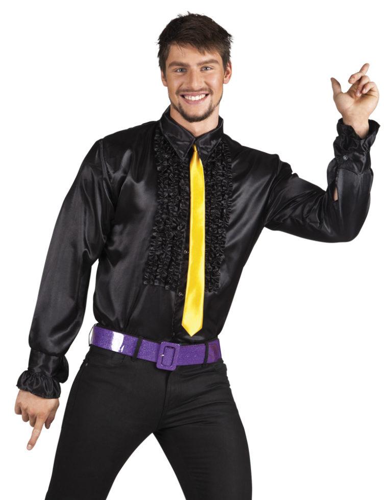 Disco ruche blouse zwart - Extra Large