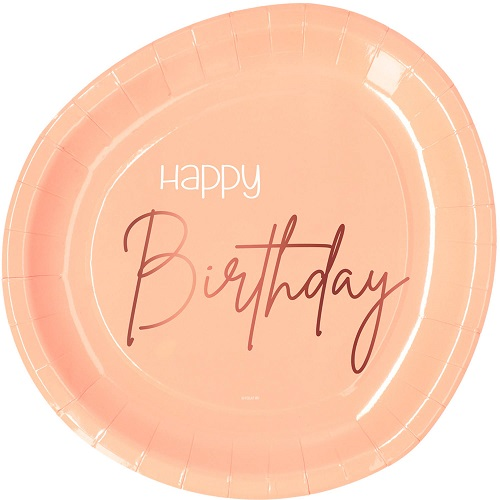 Elegant lush blush bordjes happy birthday 8st