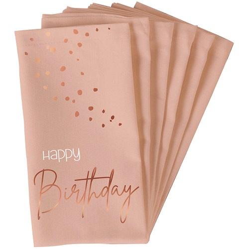Elegant lush blush servetten Happy birthday 10st