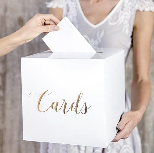 Enveloppendoos 'cards' wit met gouden tekst