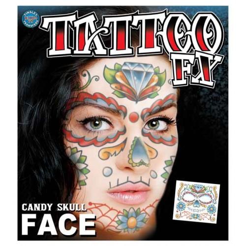 Face tattoo sugar skull