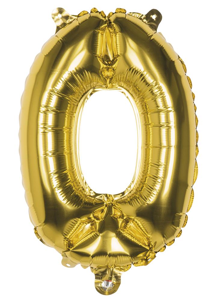 Folie cijfer 0 goud 36cm
