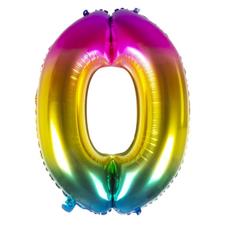 Folie cijfer 0 regenboog 36cm