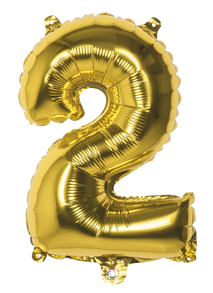 Folie cijfer 2 goud 36 cm
