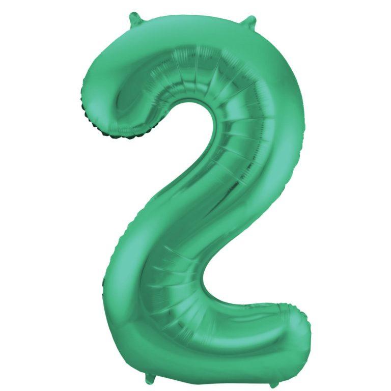 Folie cijfer 2 mat groen 86cm