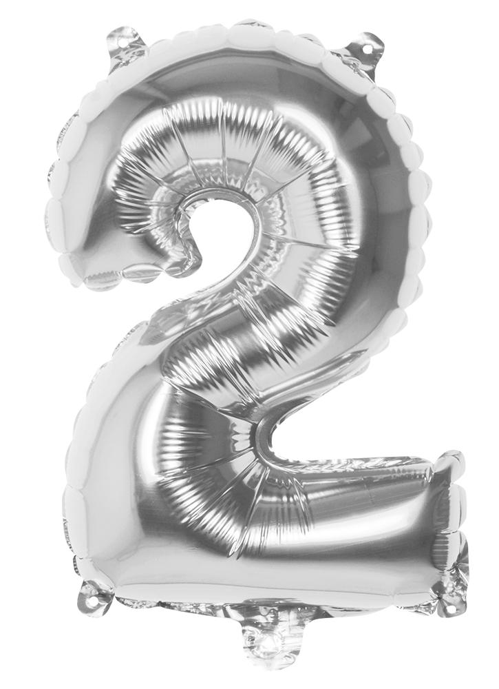 Folie cijfer 2 zilver 36cm