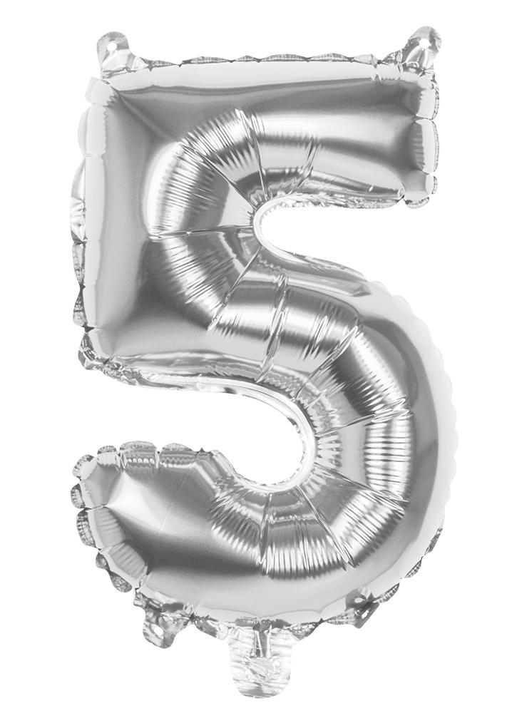 Folie cijfer 5 zilver 36cm
